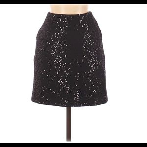 Ann Taylor Petite Black Sequin Wool Mini Skirt NWT